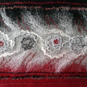 Black and Red Merino Wool Scarf (detail)