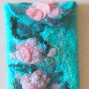 Felted Mobile Phone Case with cherry blossom