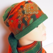 Felted Autumn Style Cloche Hat and Scarf