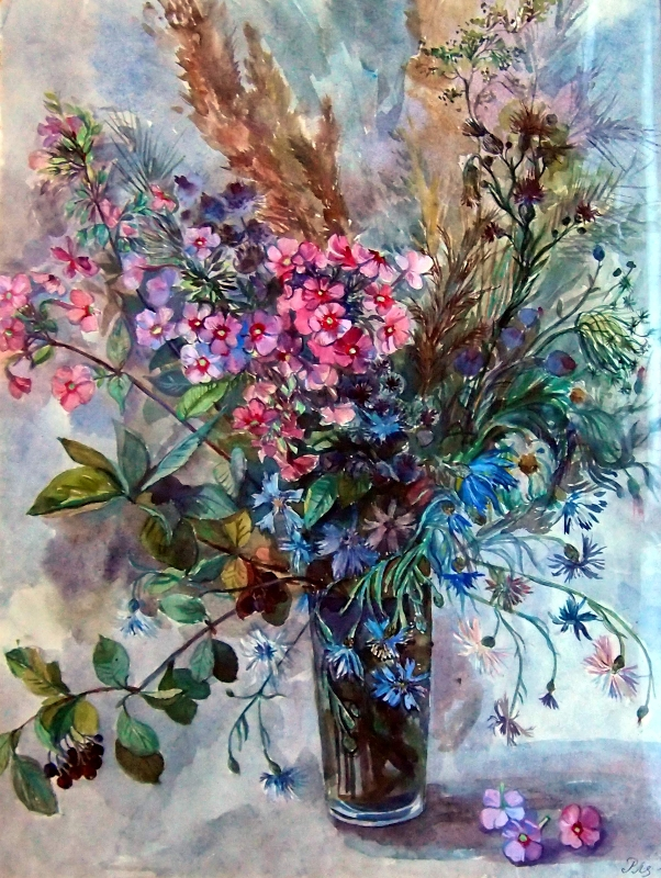 'Floral Harmony'  watercolour by Worcestershire Artist Raya Brown55x70cm sold