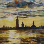 'Peter and Paul fortress St Petersburg'  61x79cm sold
