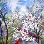 'Spring is in the air' original watercolour by Worcestershire Artist  Raya Brown -49x57cm  £110