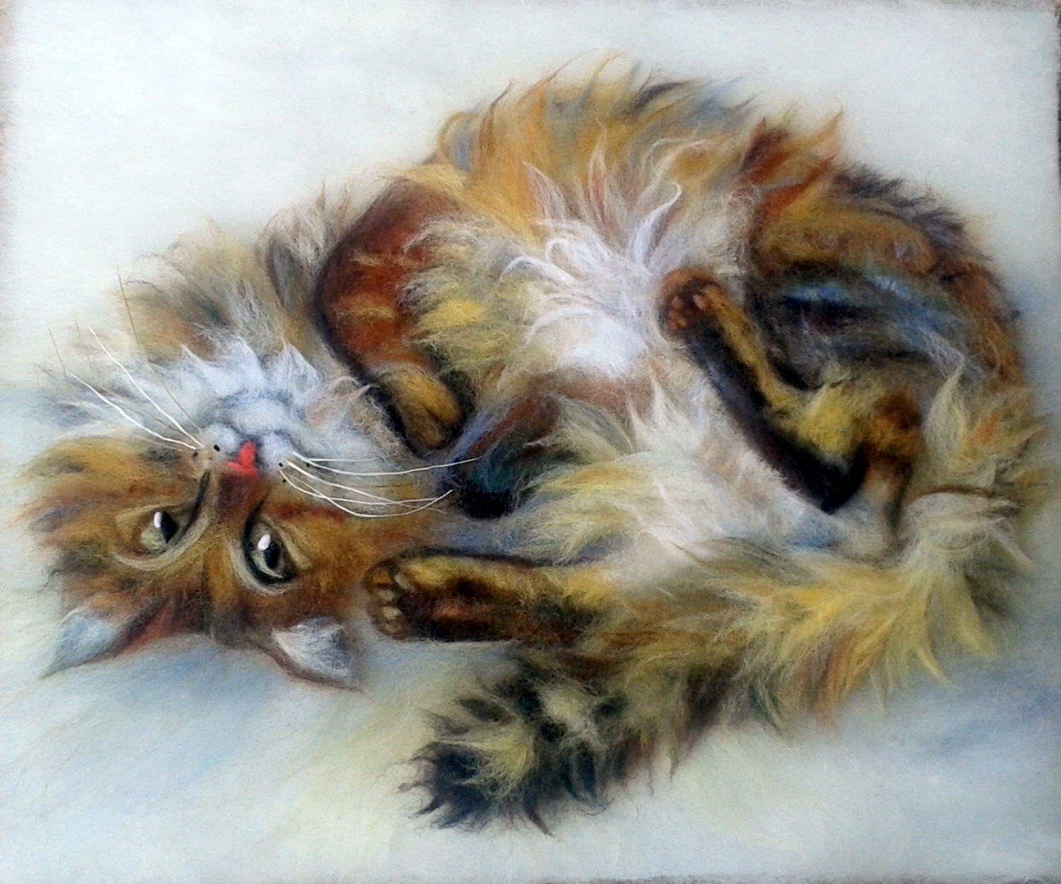 'Funtik friend's cat' wool painting 40x30cm