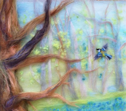 'Bluebell woods' part of a wool painting
