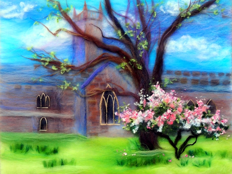 'Spring in Worcester' wool painting 30x48cm