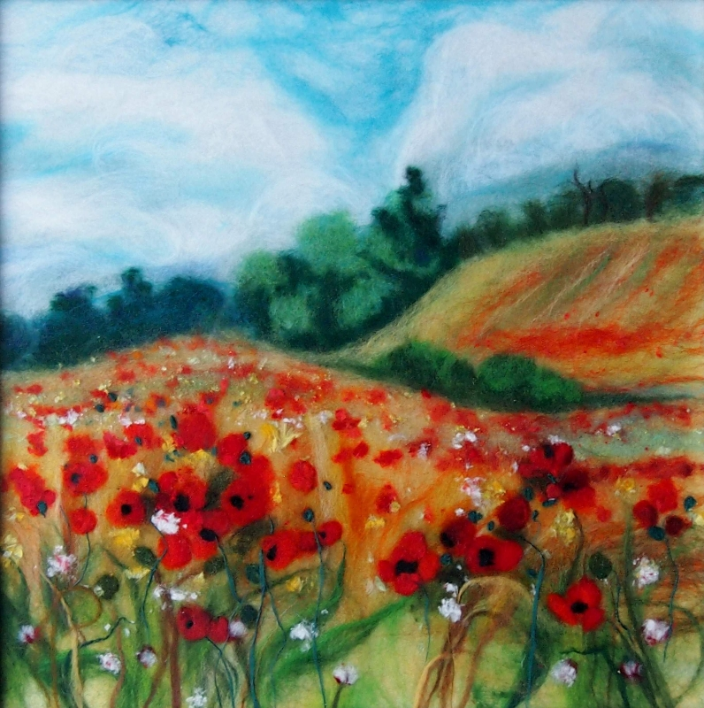 'Summer landscape' wool painting 35x35cm