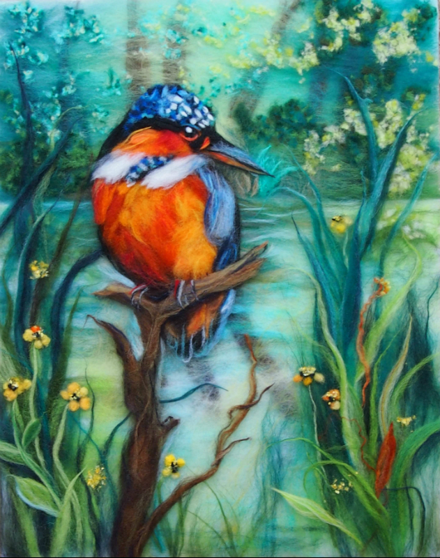 'The Kingfisher' wool painting 30x47cm