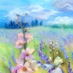 'Delphinium field in Worcestershire' wool painting
