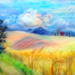 'Landscape with corn fields' wool painting - 45X35-cm