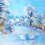 'Winter Dream' wool painting 36x46 cm