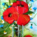 'Bouquet with poppies, daisies and cornflowers' wool painting 33x43cm