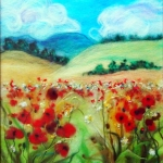 'Golden fields with red poppies' wool painting 28x33cm