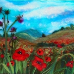 'Poppy fields near Bewdley' wool painting 33x43 cm