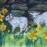 'Spring lambs' wool painting 38x46cm