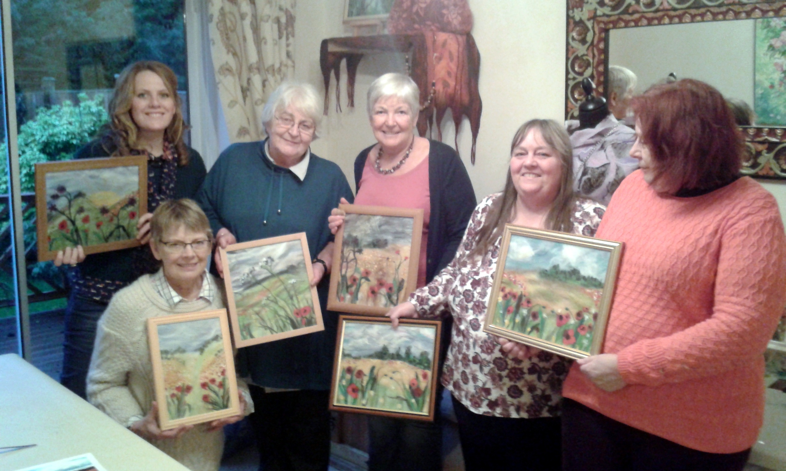 Anne Breese, Irene Walker, Mo ,Jen , Janet and Sarah with their finished work