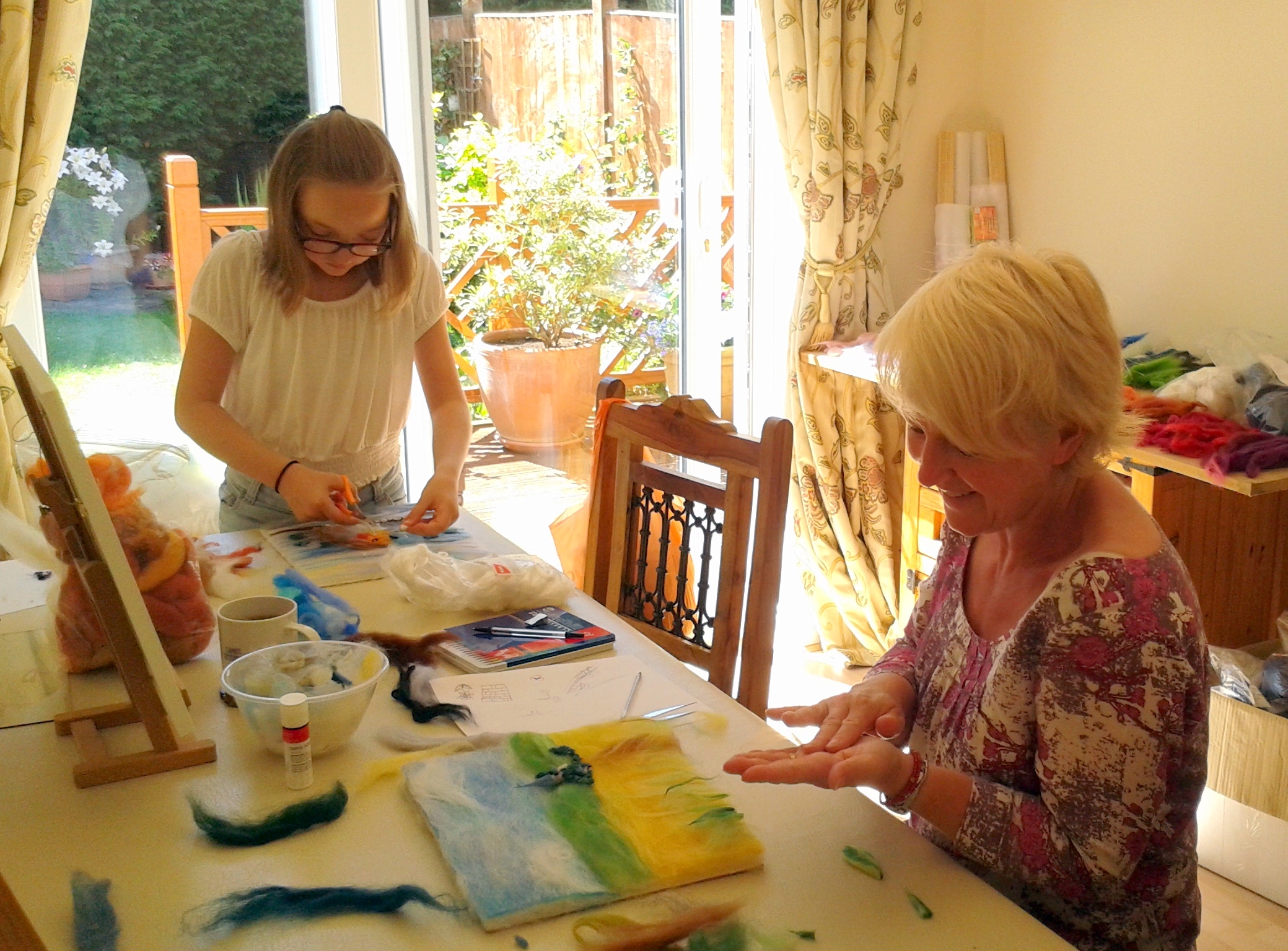 Eli and her mother Beth learning wool painting at Magic Wool Studio in Worcestershire