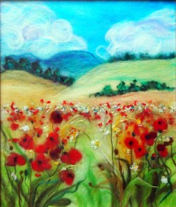 Golden fields with red poppies 28x33cm
