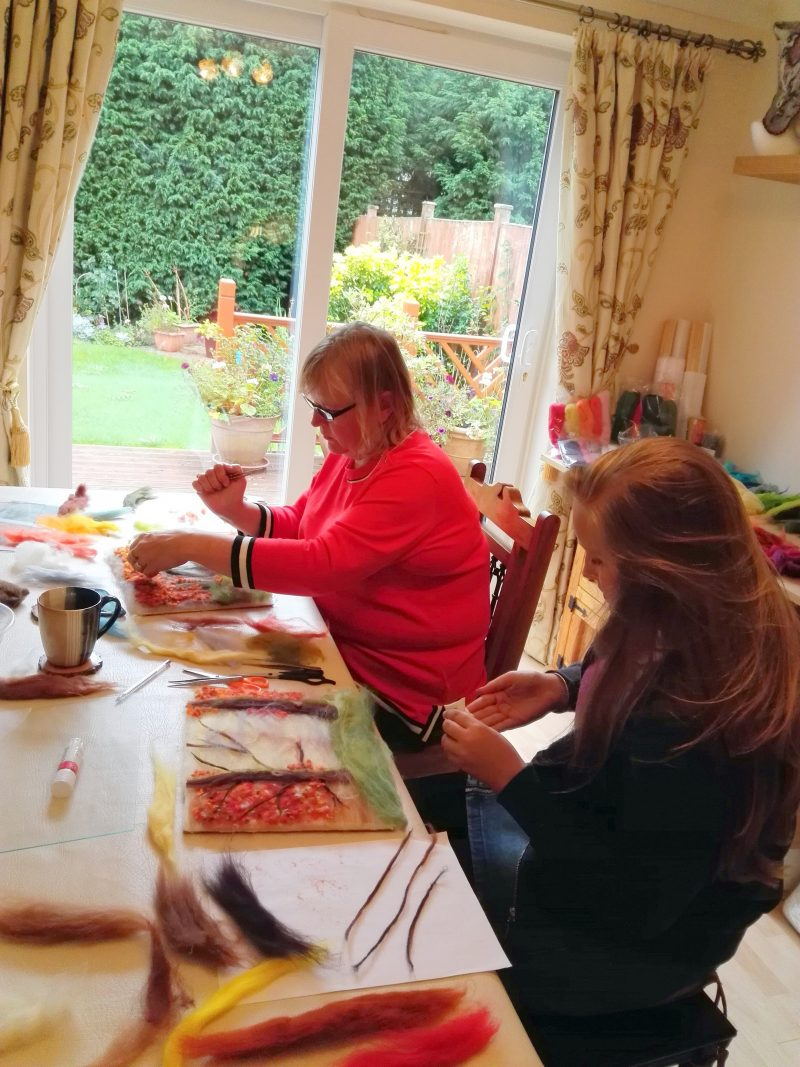 Learn wool painting technique at Magic Wool art and Craft studio in Worcestershire