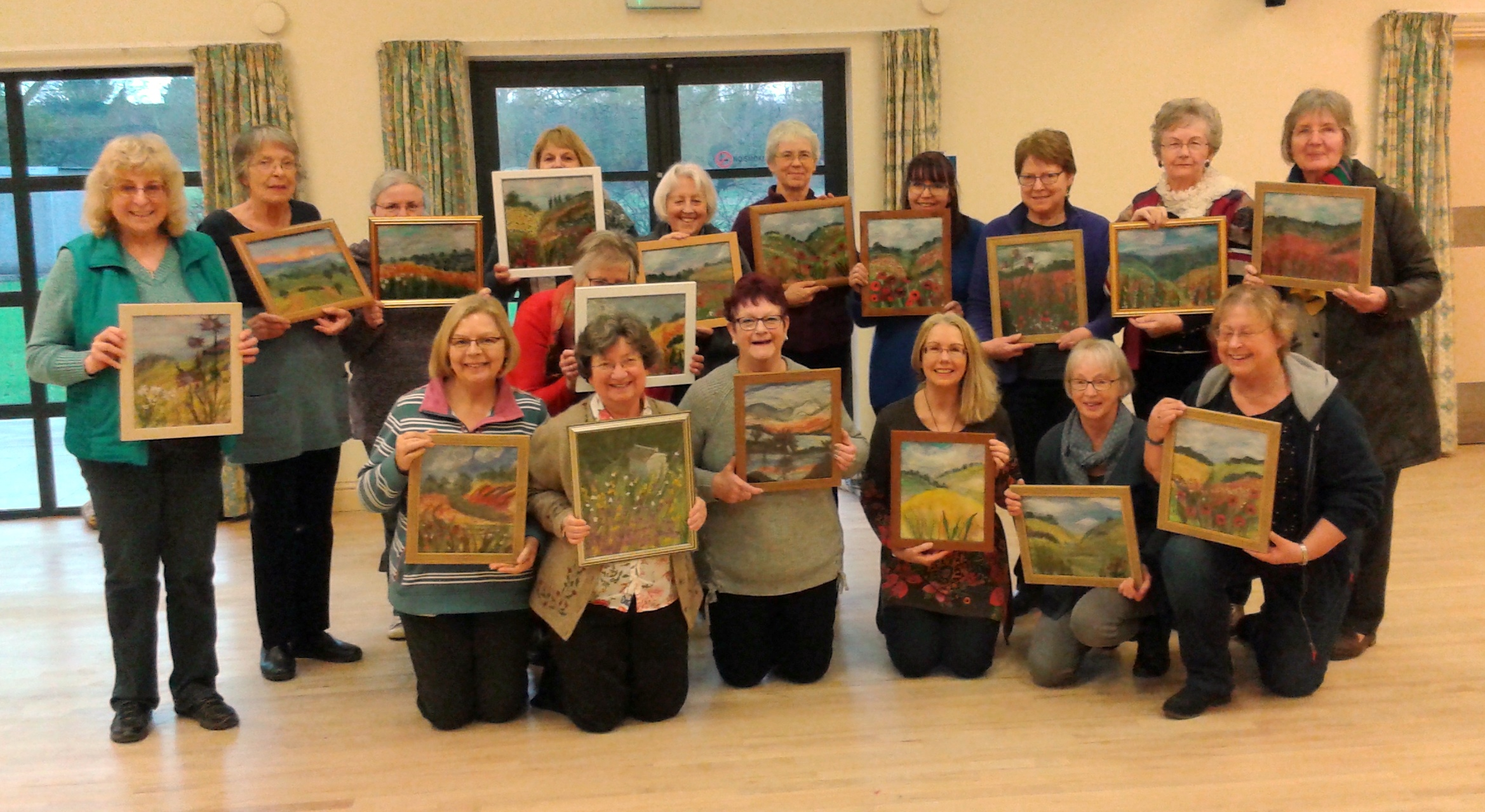 Cotswold E G Branch of Embroiderer's Guild with their wool paintings taught by Textile Artist Raya Brown