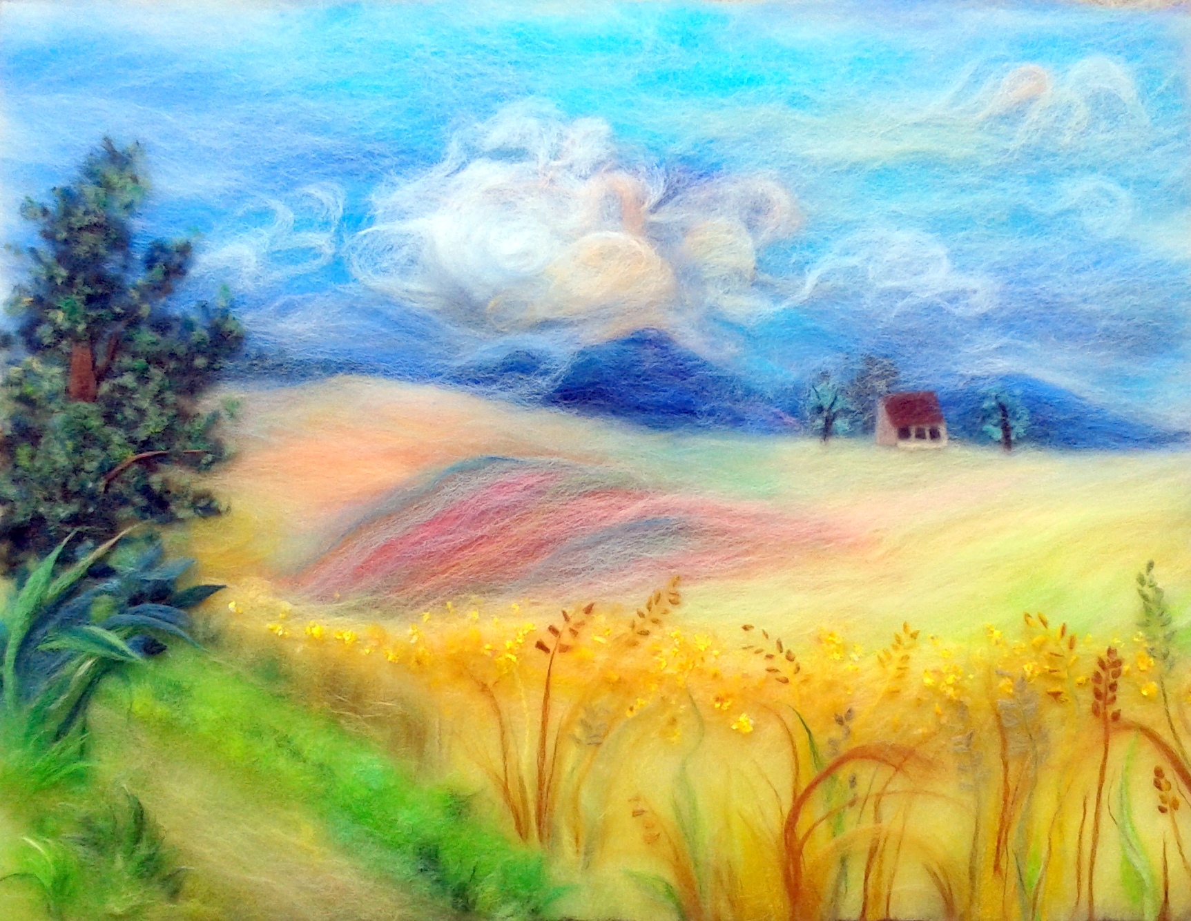 """ Landscape with corn fields"" wool painting"