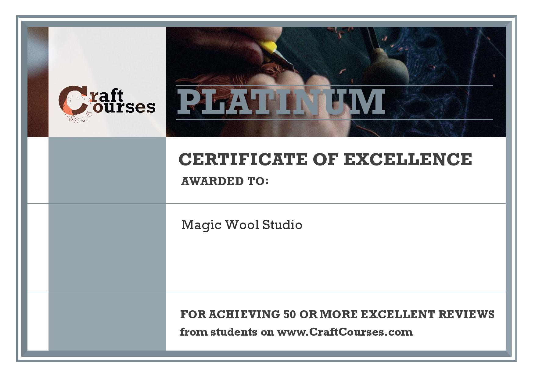 Magic Wool Studio Has Been Awarded A Certificate Of Excellence For