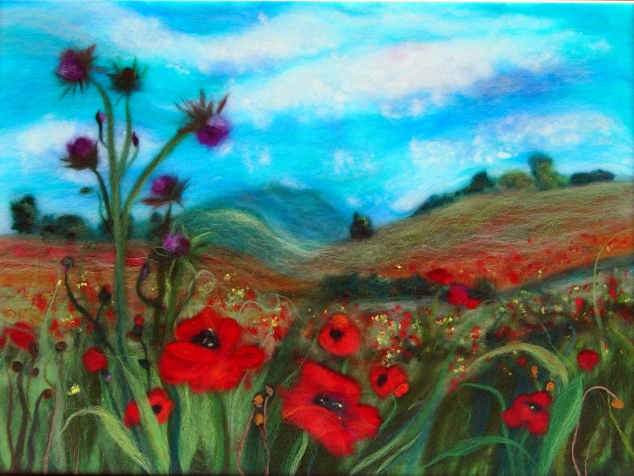 'Fields with red poppies' wool painting by Textile Artist from Worcestershire Raya Brown