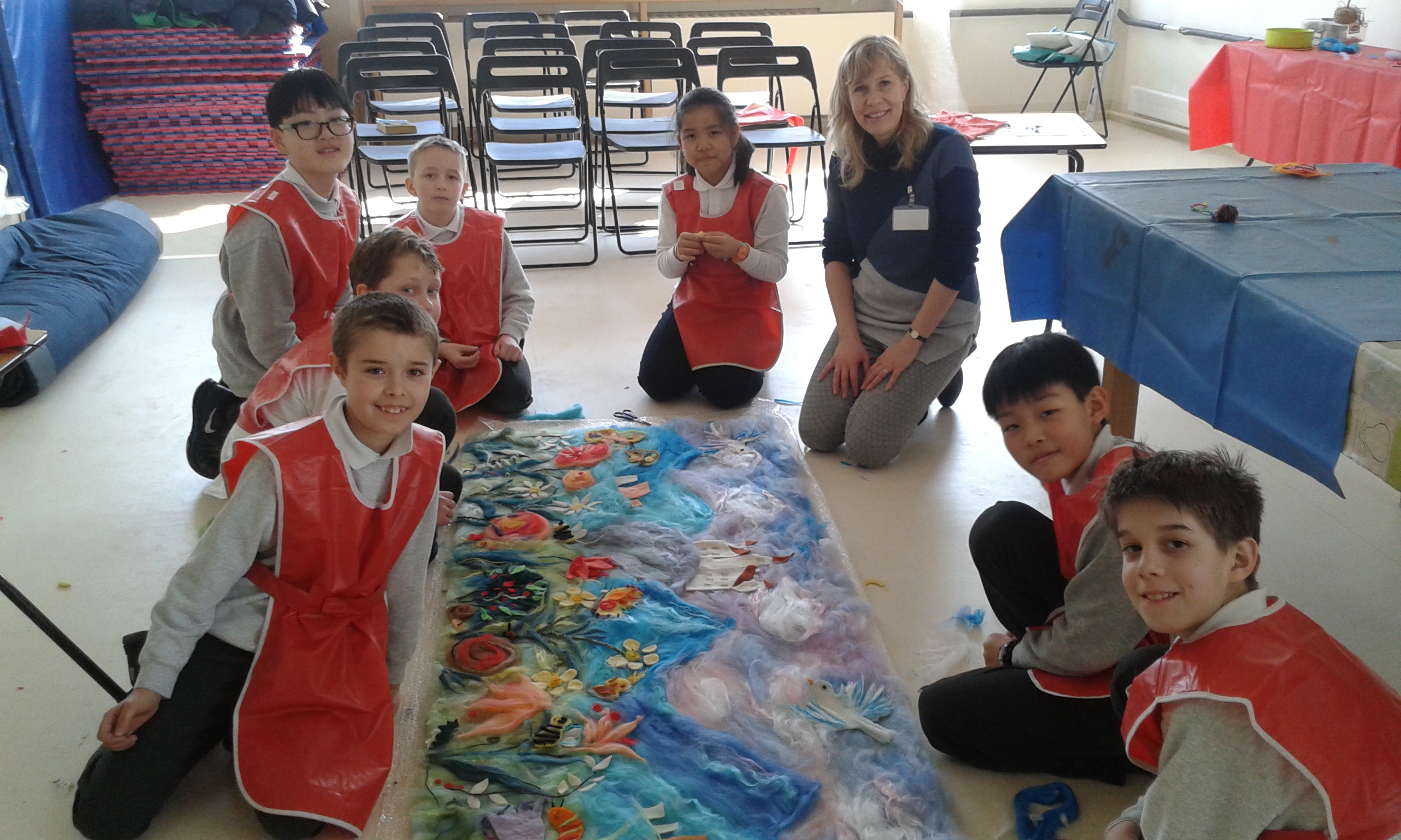 Textiles Artist Raya Brown with the pupils from the British International School in Bratislava, Slovakia