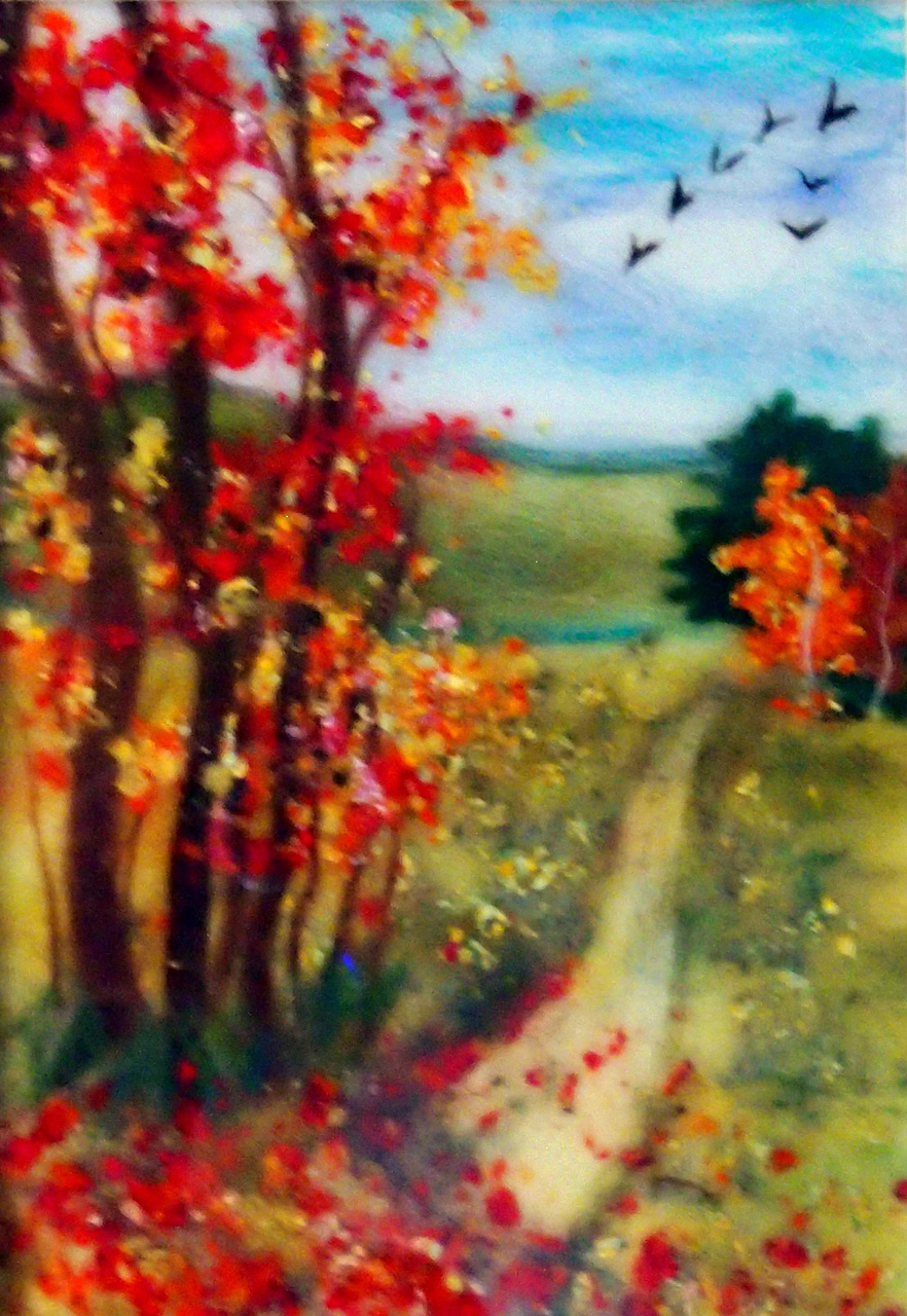 'Autumn landscape' wool fibre painting by Worcestershire Textiles artist Raya Brown
