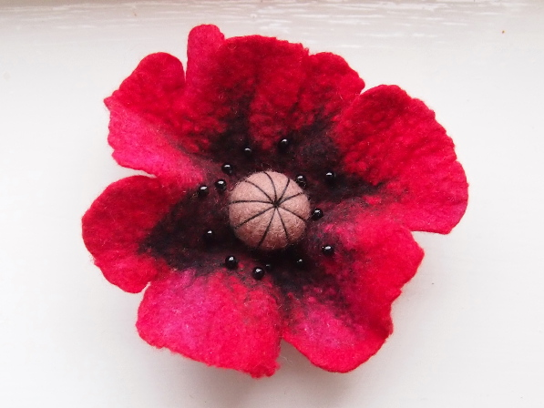 Hand Felted Poppy