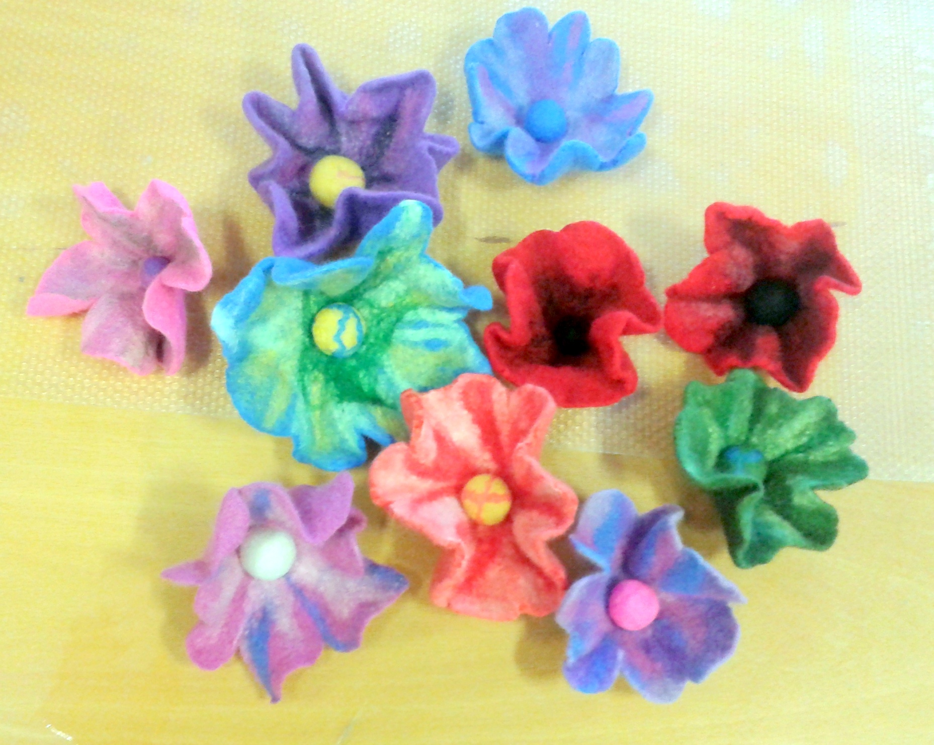 Finished flowers made by ladies