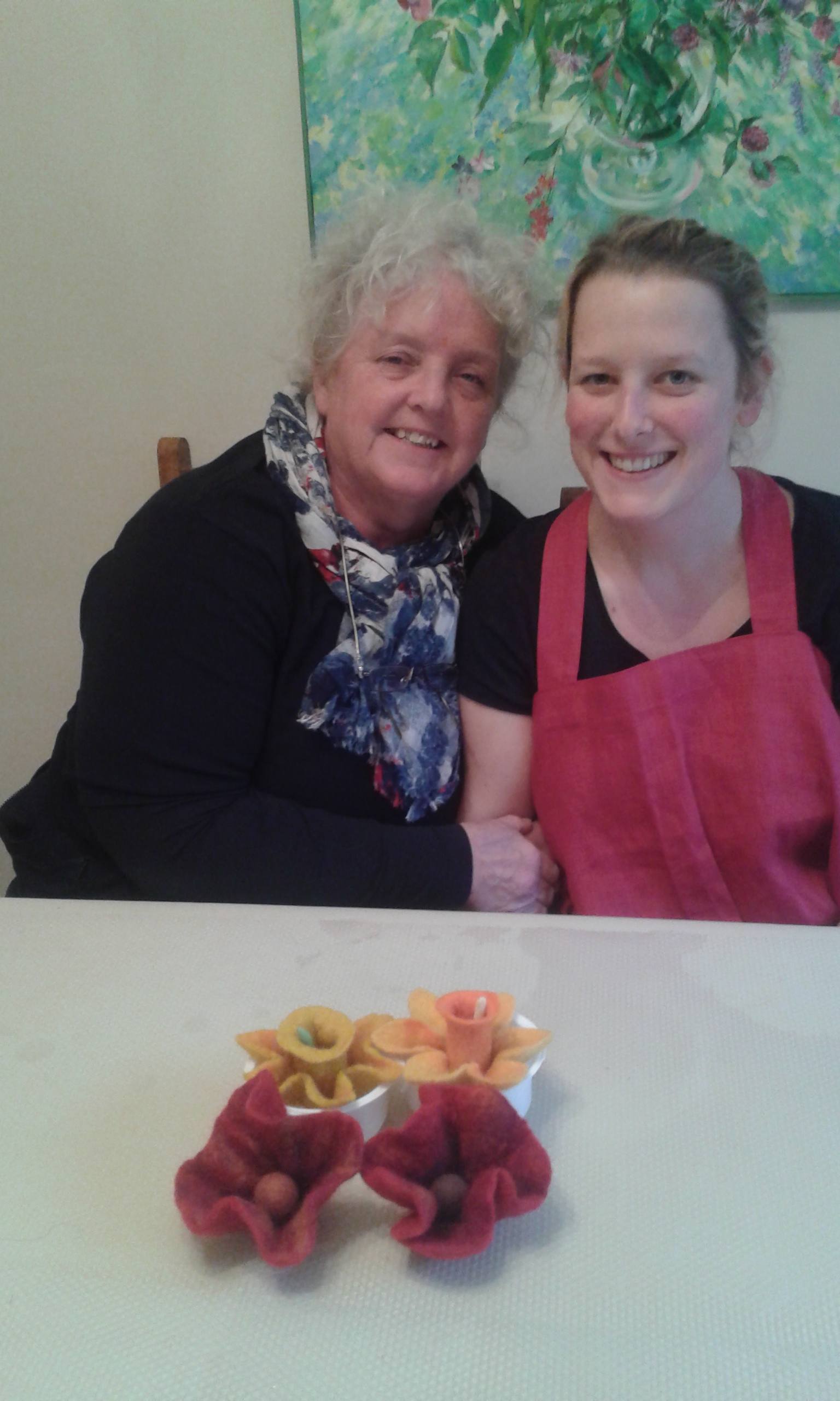 Jenny and Margaret with their beautiful handmade flowers