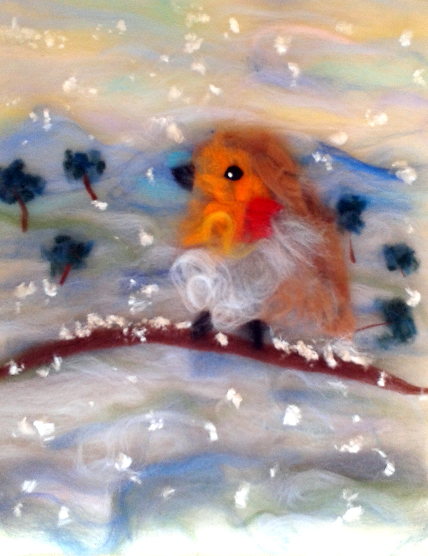 'Red Robin Landscape' wool painting created by Eli at Magic Wool Studio with artist Raya Brown