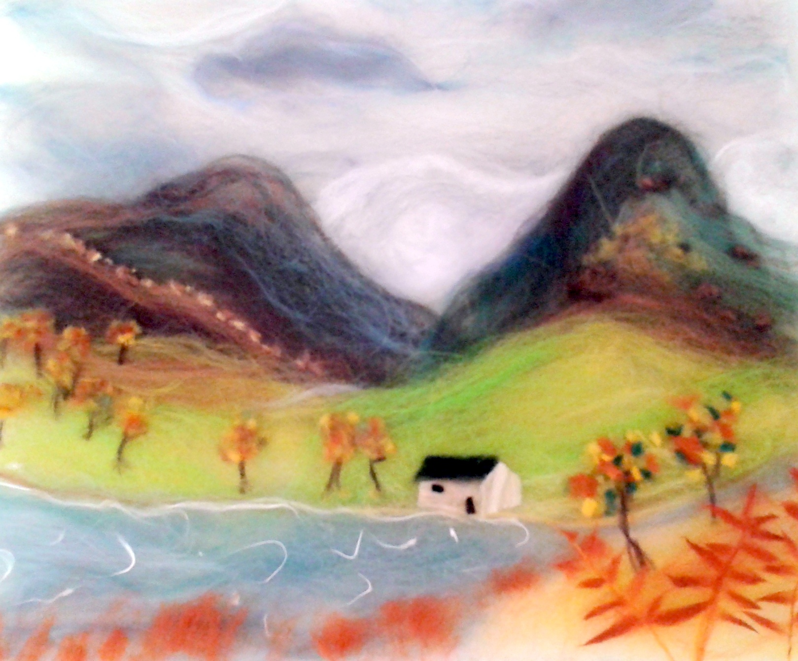 'Lake district landscape' wool painting created by Karen at Magic Wool Art and Craft Studio