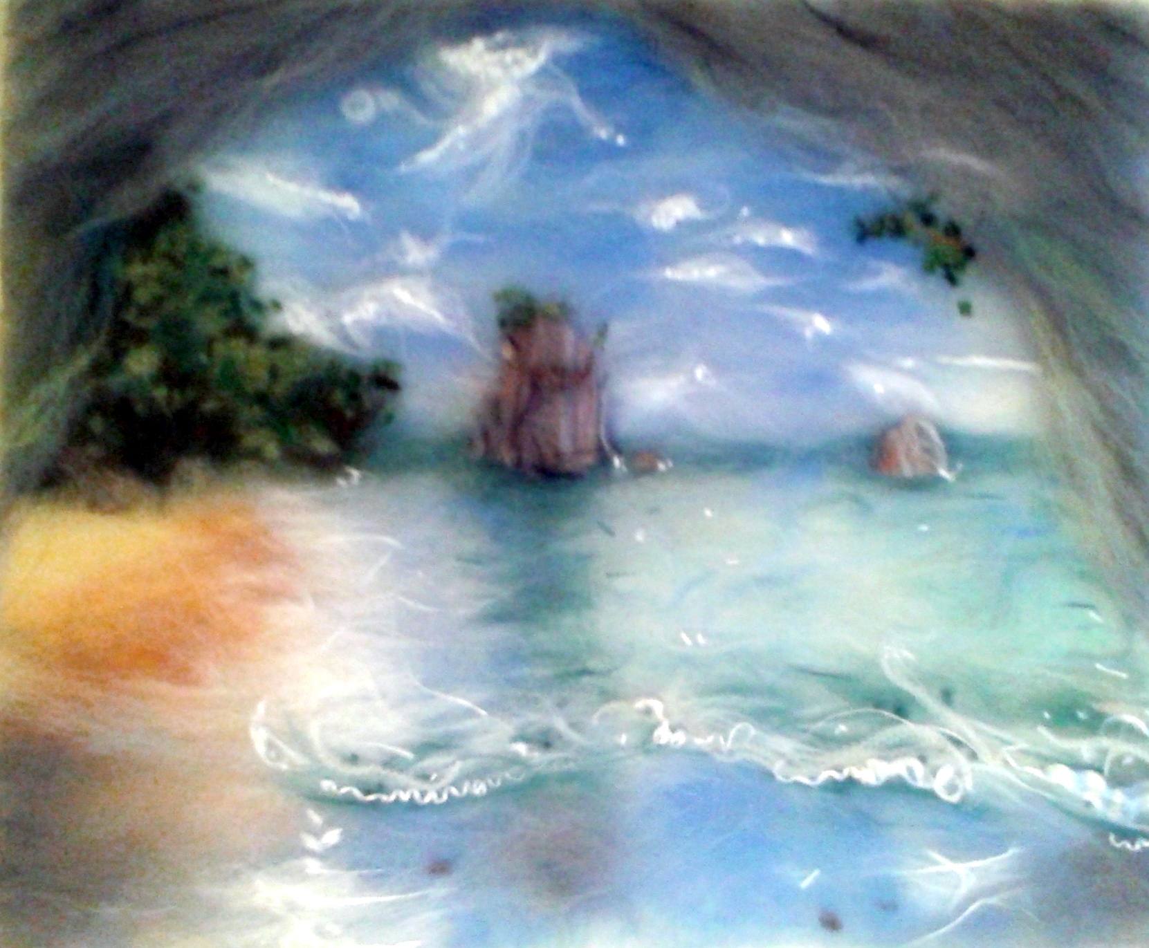 Natalie's romantic seascape wool painting