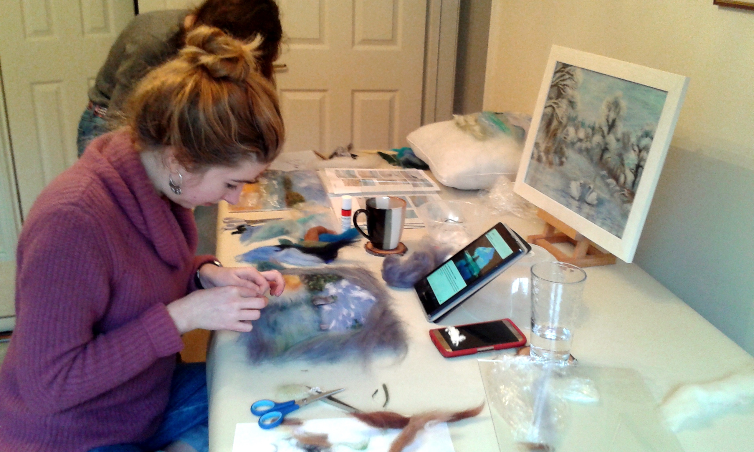 Students Serena and Natalie working on their Wool Paintings at Magic Wool Art and Craft Studio in Worcestershire