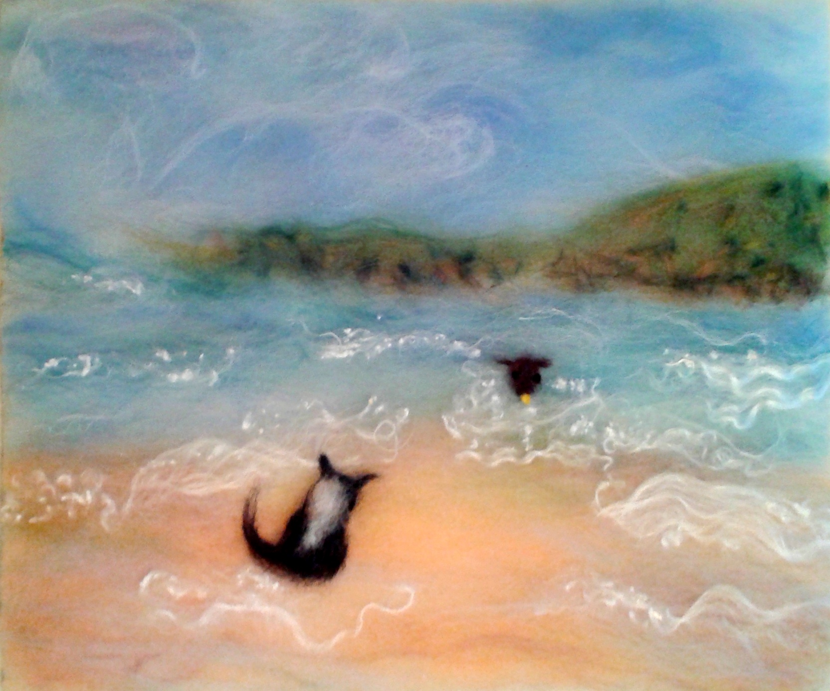 Serena's wool painting of her favorite holiday with her dogs in Pembrokeshire