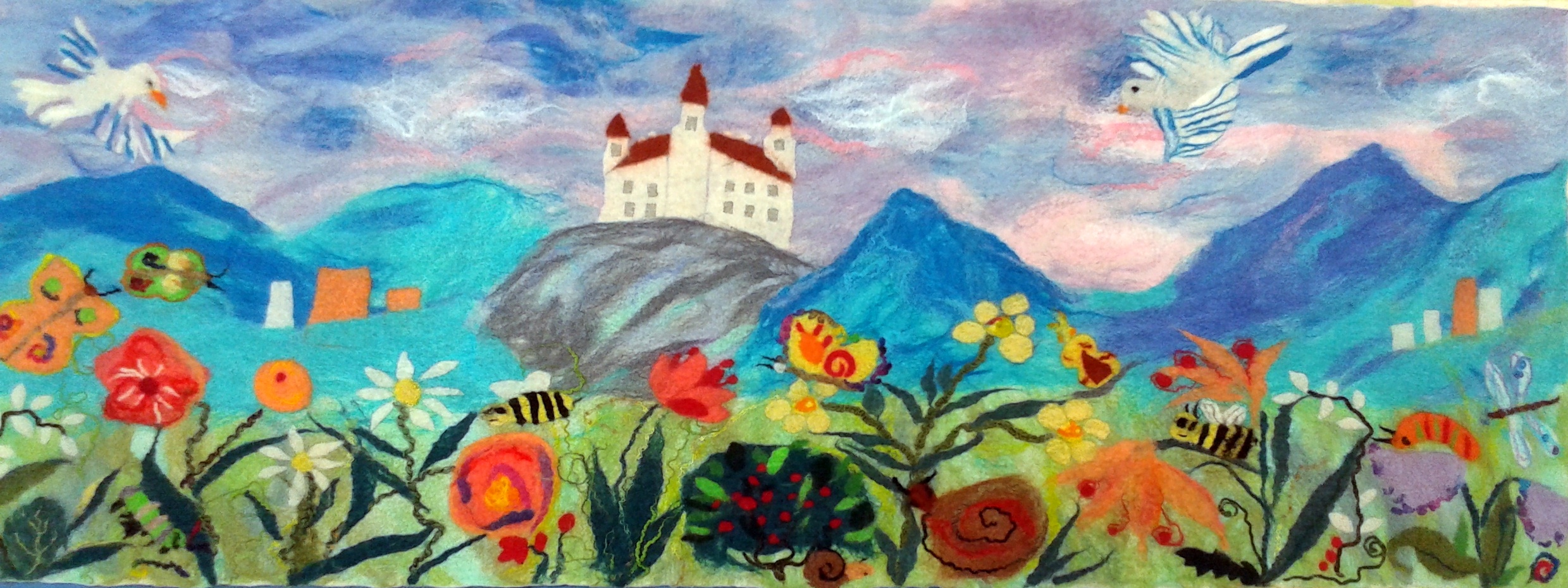 Our finished felted wall hanging