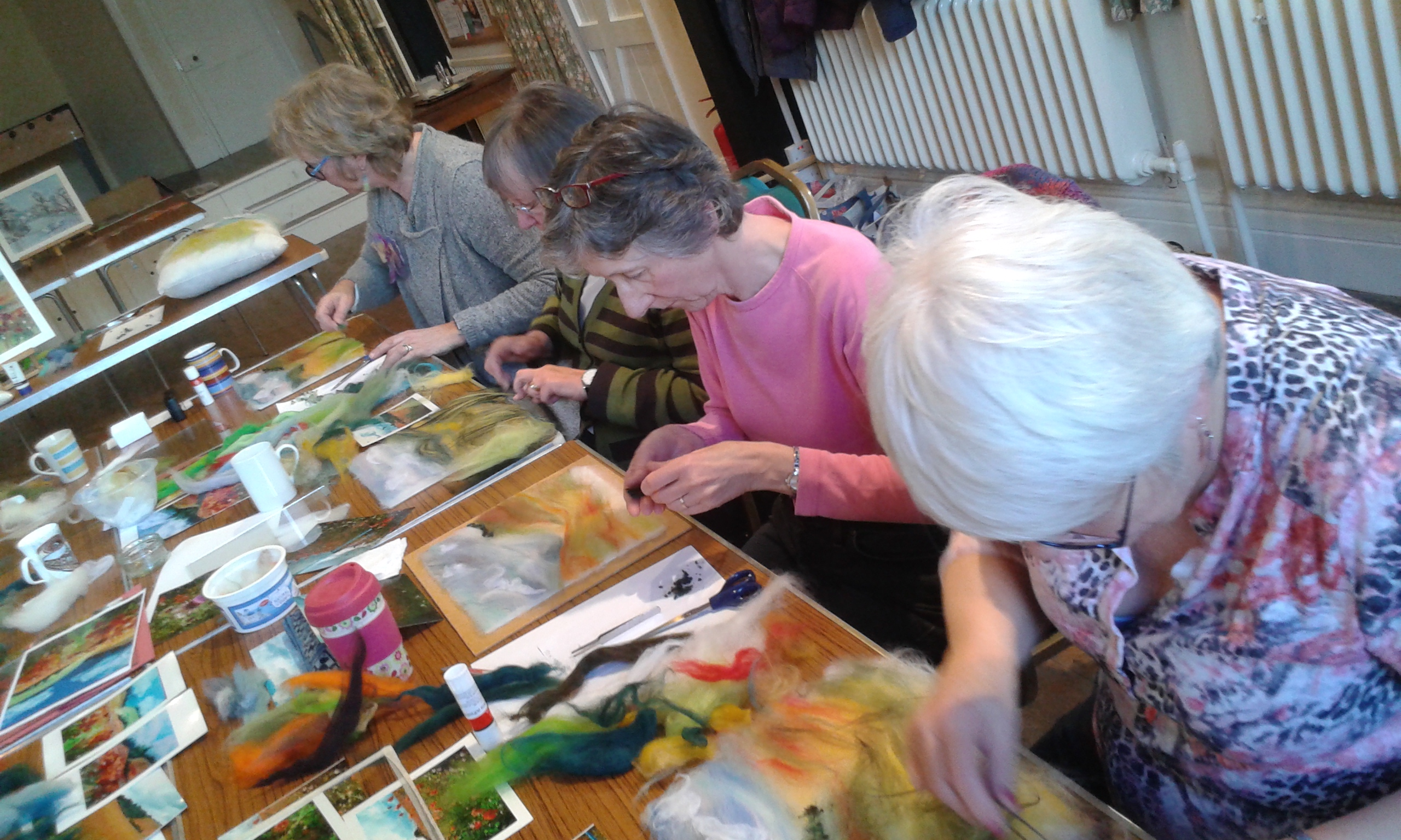 Fantastic wool paintings created by ladies from Inspire group in Barston.