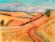 Memories of Cotswolds  captured in a wool painting by Textiles Artist Raya Brown
