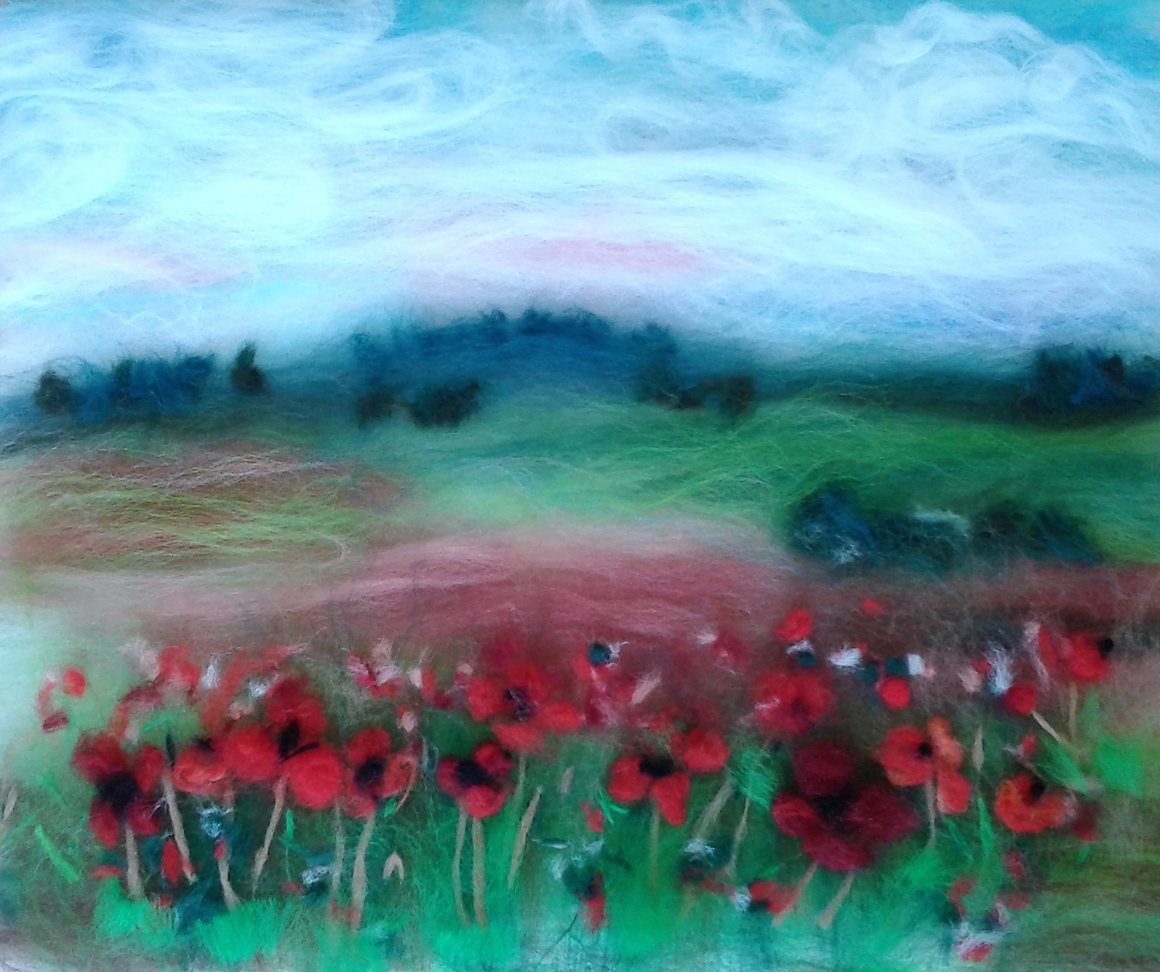 Pat's wool painting, impressionistic approach