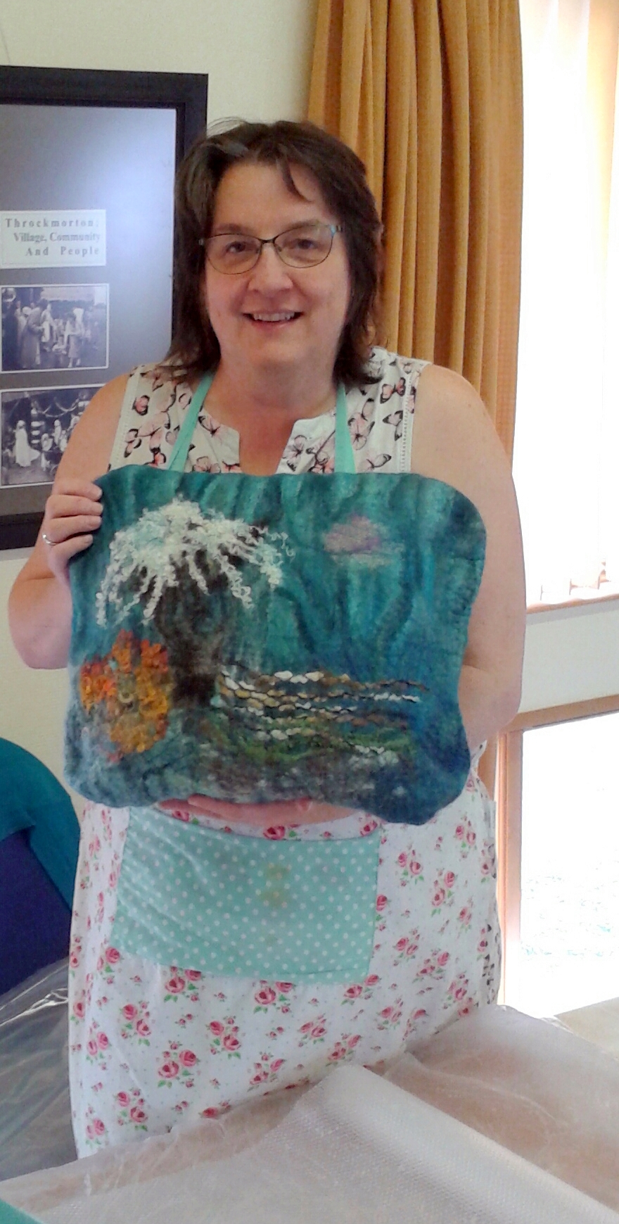 Sea life themed cushion cover made by Rose Rose at the Felted Cushion course with Textiles Artist Raya Brown in Worcestershire