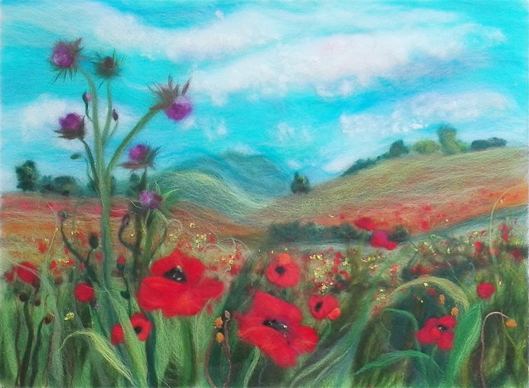 Poppy fields wool painting class in Cotswolds with Raya Brown