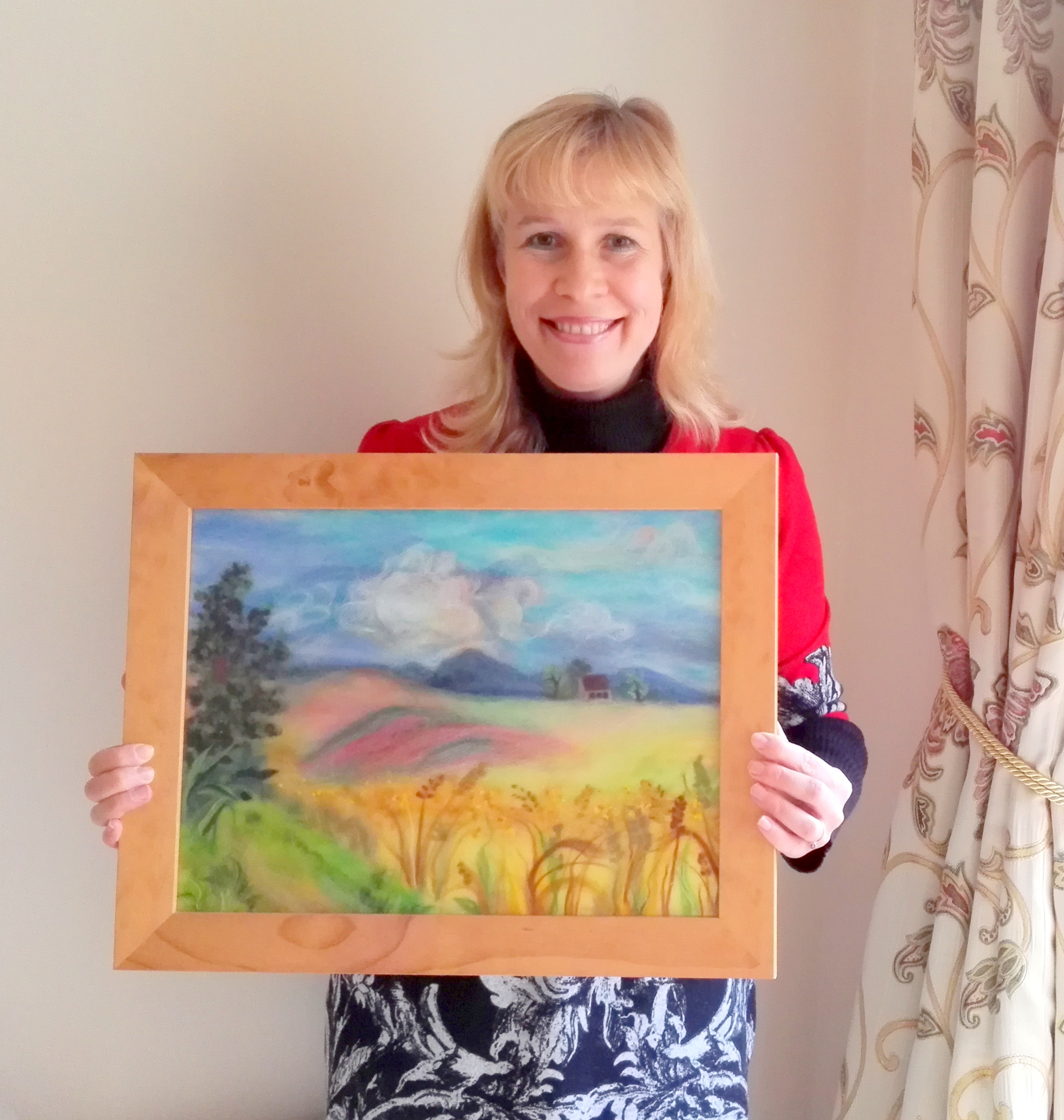 Artist Raya Brown is to auction off her wool painting for Mind Charity in Worcestershire