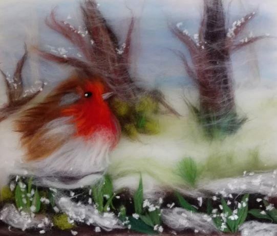 Lovely Robin wool paintings/wool watercolours were created at Magic Wool Art and Craft studio in Worcestershire  last Sunday  .