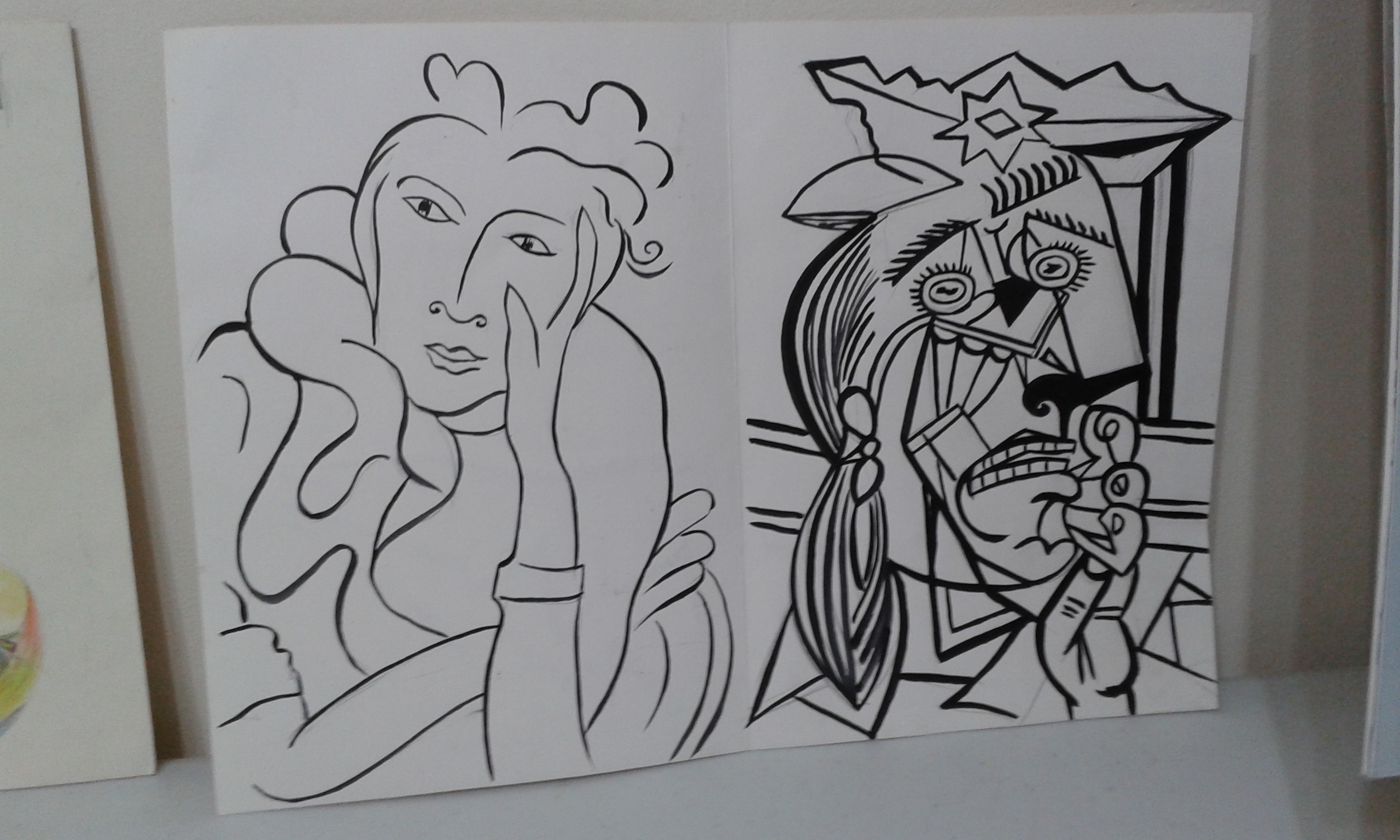 Comparing P. Picasso's and H. Matisse's lines at Fundamental art Skills course with artist Raya Brown in Worcestershire