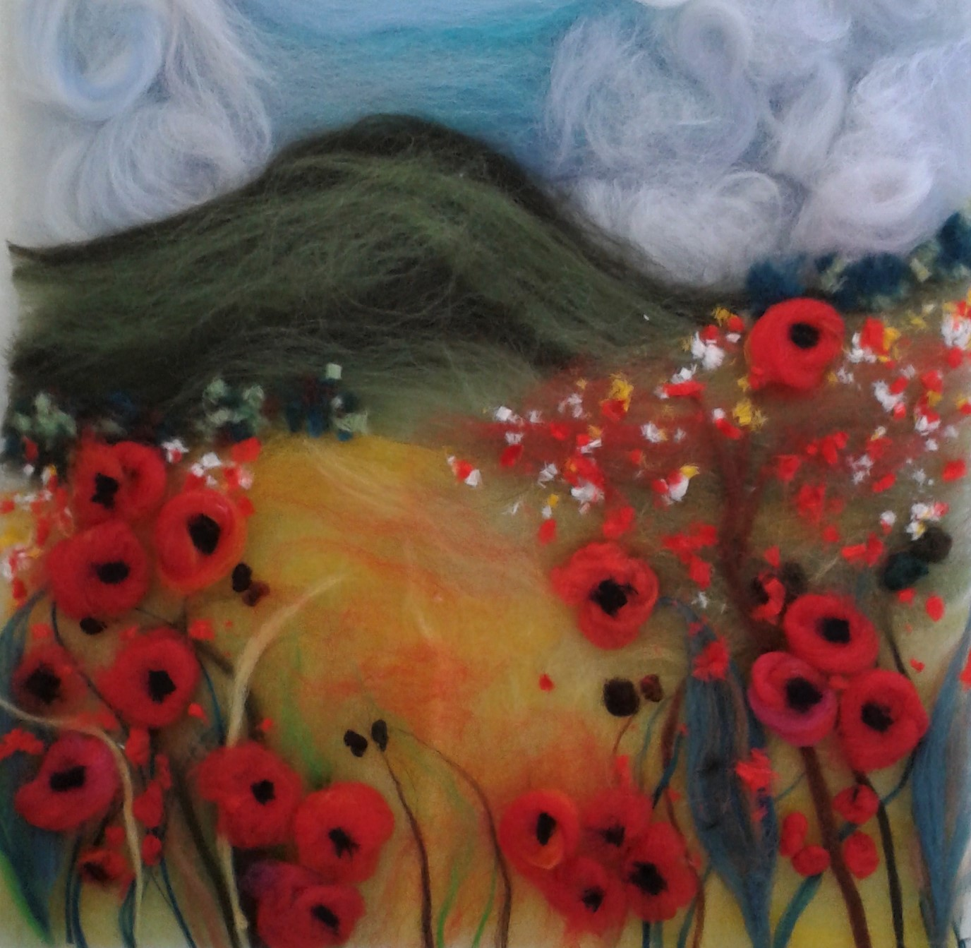 Finished Wool Painting created by a student at a wool painting with Raya Brown course at Bevere Art Gallery