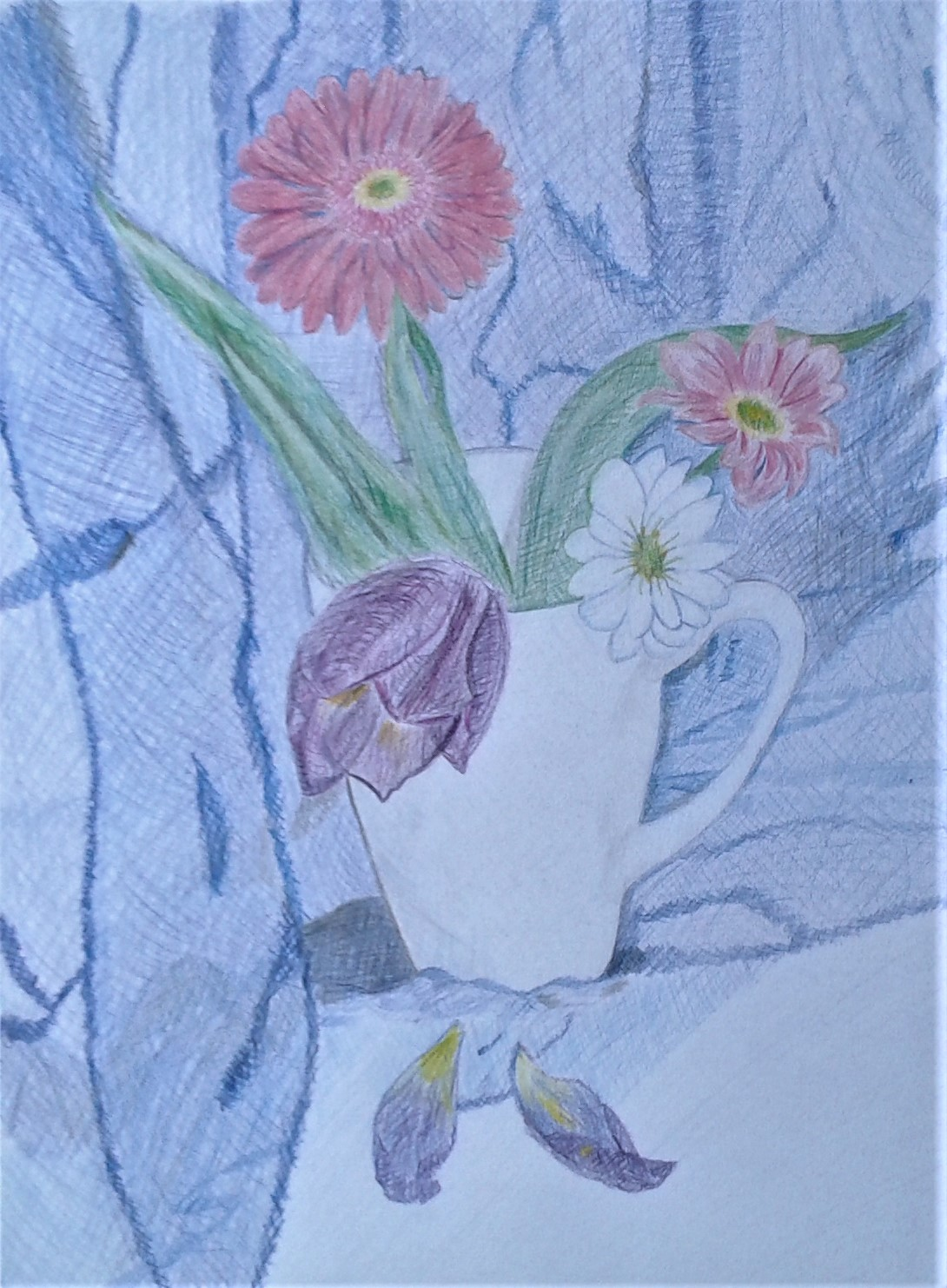 Floral Still Life created by a student at Raya's Art Studio in Kidderminster, Worcestershire