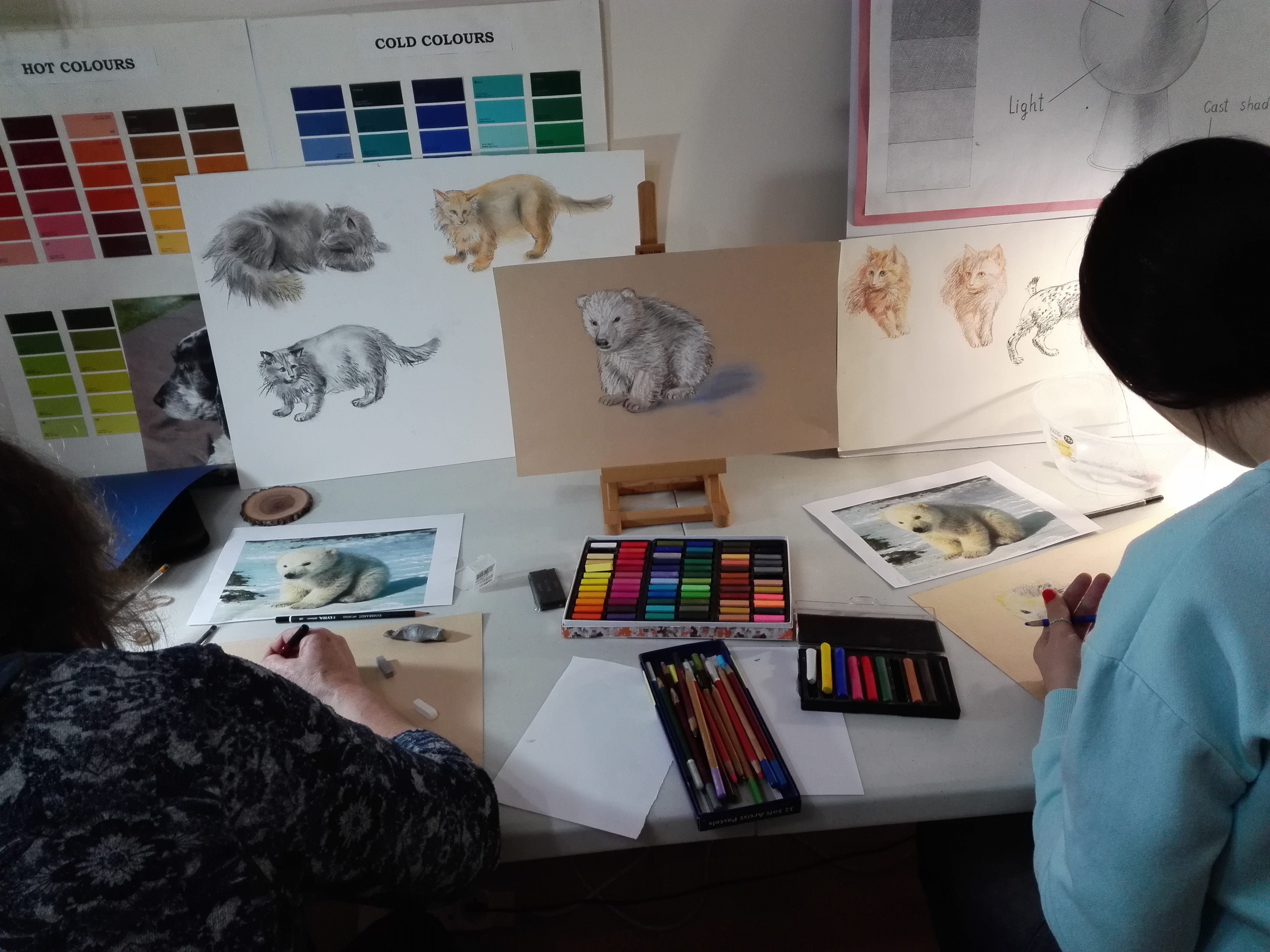 Adult students learn how to draw animals at Magic Wool Art and Craft Studio in Kidderminster Worcestershire
