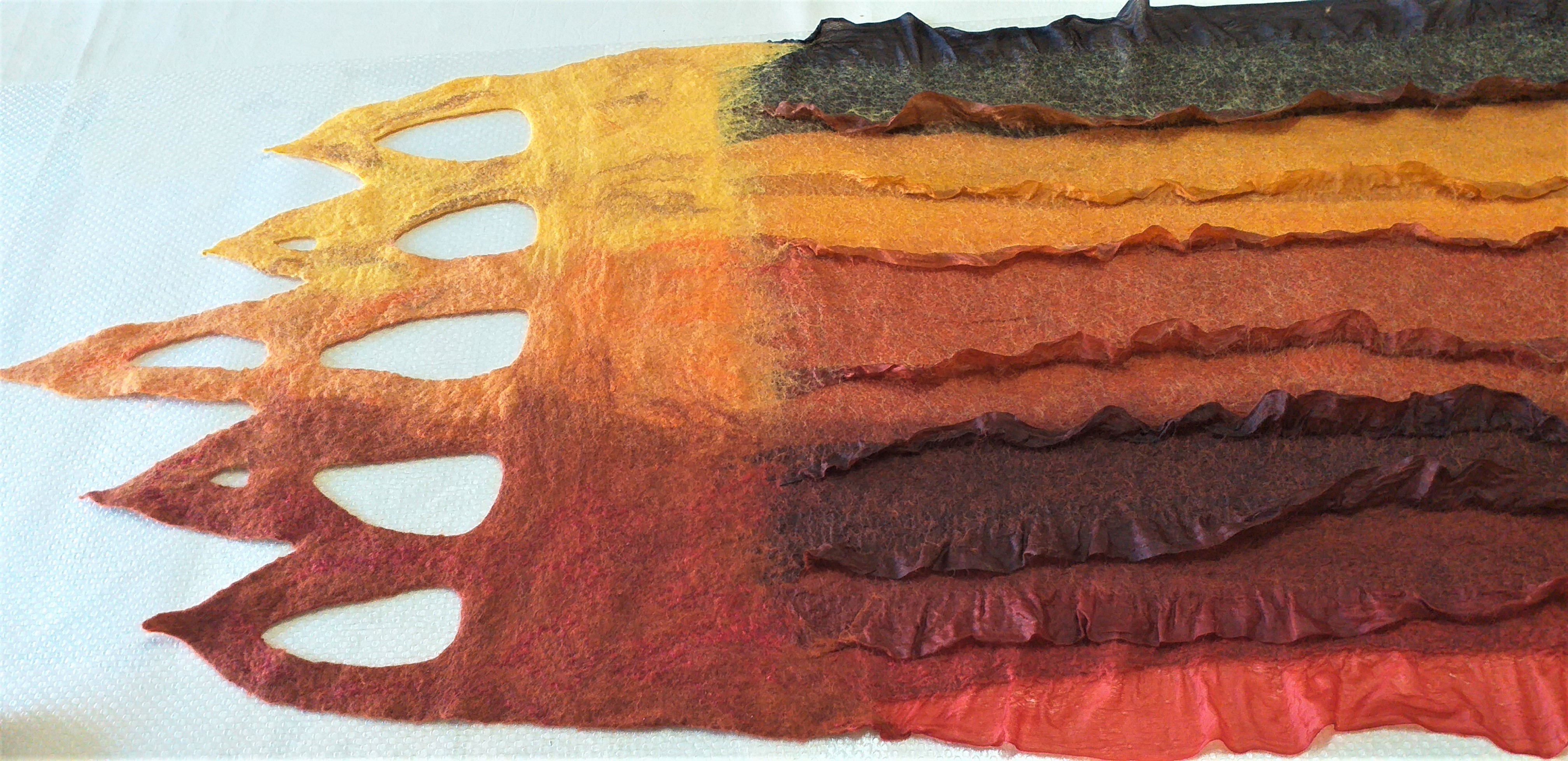 Part of a Nuno Felted shawl made by Christelle at Magic Wool Art and Craft Studio in Worcestershire