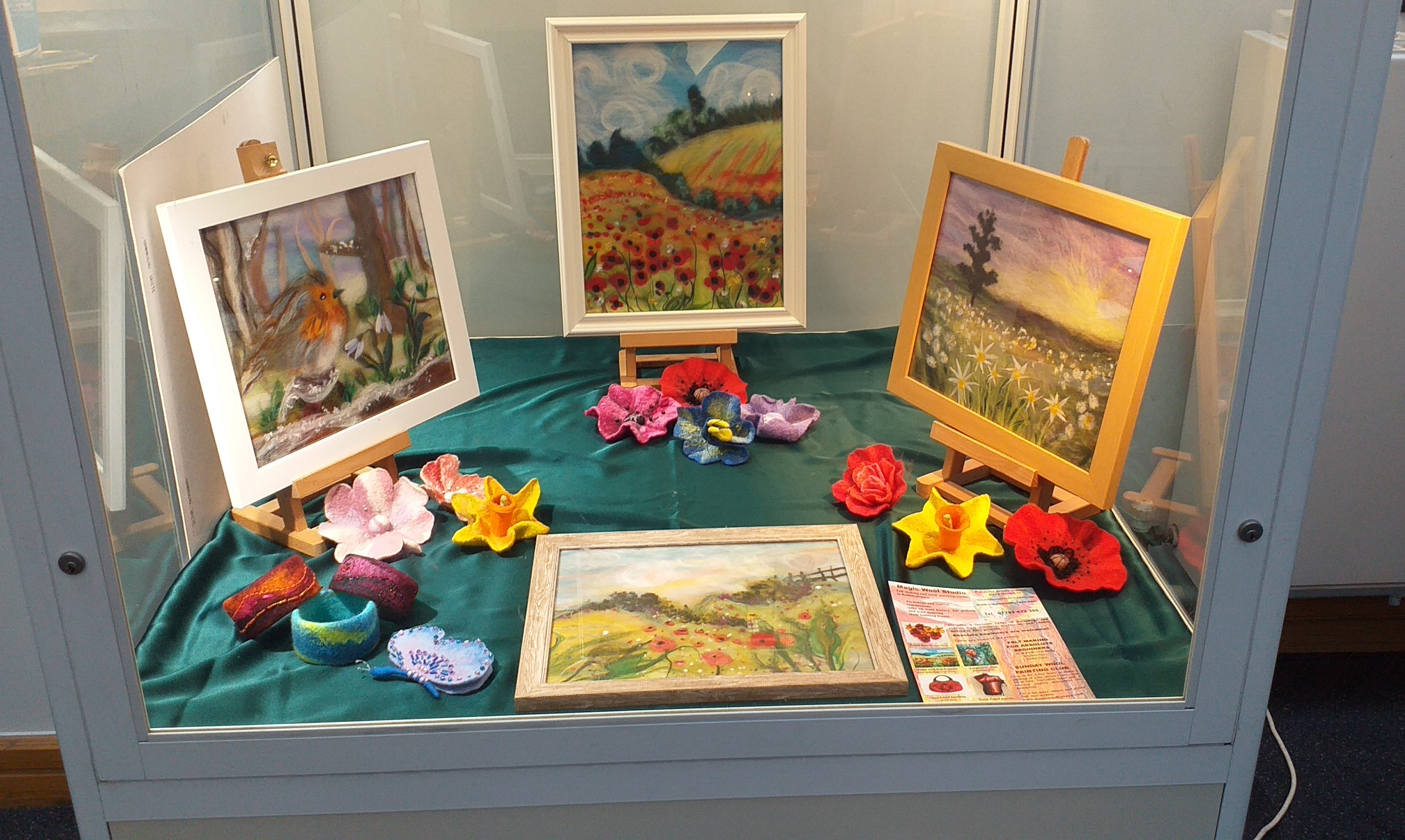 Wool paintings by complete beginners in Art displayed at Kiddermisnter library